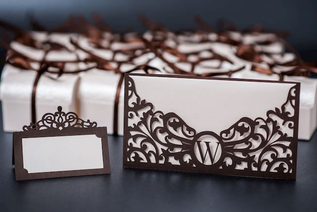 Laser cut wedding invitations from paper