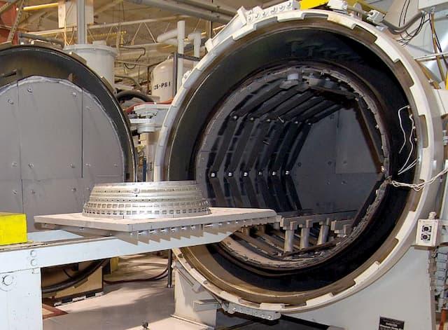 Metal parts put into furnace