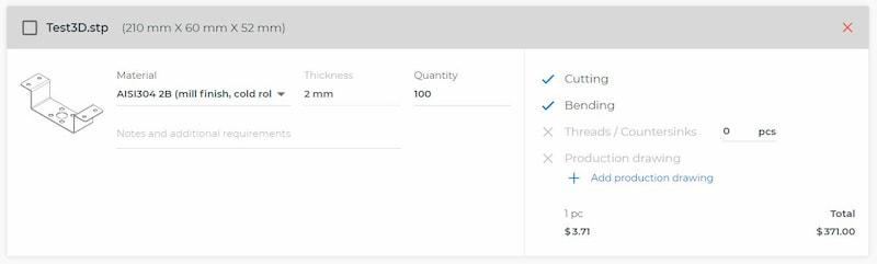 Online laser cutting price