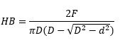 Brinell hardness calculation formula